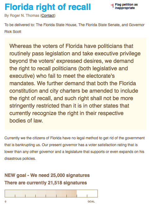 PETITION TO RECALL RICK SCOTT