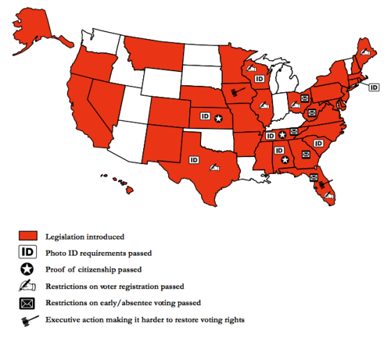 Map of all the states enacting voter suppression laws, with Florida leading the pack.